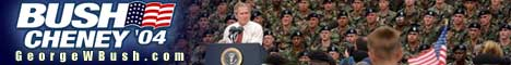 Bush/Cheney '04 banner with President George Walker Bush addressing the troops