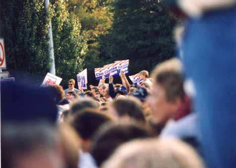 A photo of Clintonista protesters at President George Bush's Campaign '92 whistle-stop in Burlington, NC
