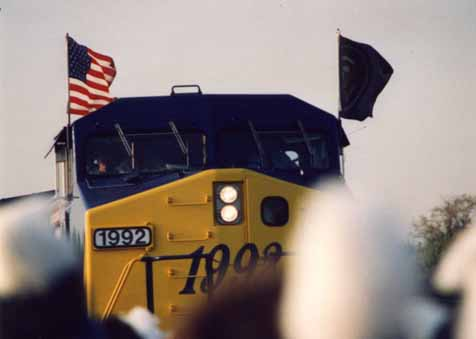 A photo of President George Bush's campaign train, Spirit of America, pulling into the station for his Campaign '92 whistle-stop in Burlington, NC