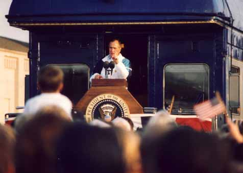 A photo of President George Bush emphasizing a point during his Campaign '92 whistle-stop in Burlington, NC