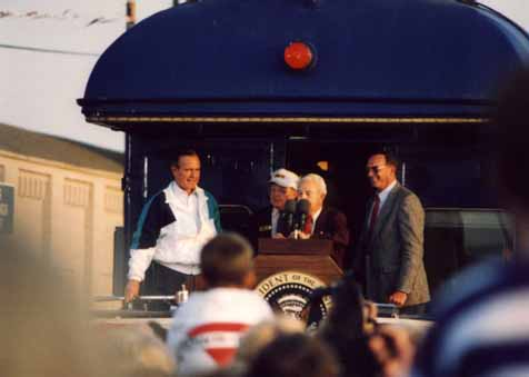 A photo of U.S. Senate candidate Lauch Faircloth addressing the crowd at President George Bush's Campaign '92 whistle-stop in Burlington, NC
