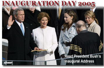 President George Walker Bush taking the Oath of Office at his Second Inauguration