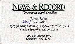 Front of Elma Sabo's business card